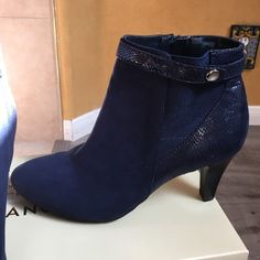 Brand new Karen Scott dark blue ankle boots Gorgeous color, brand new never worn. Sticker was removed from bottom. Karen Scott Shoes Ankle Boots & Booties