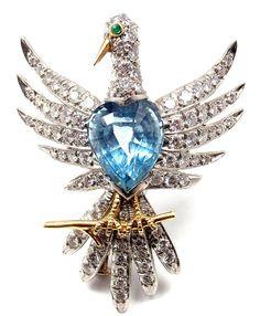 Authentic! Tiffany & Co Schlumberger Phoenix Platinum Diamond Aquamarine Brooch #TiffanyCo