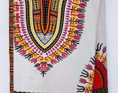 Gold Dashiki African Print / Ankara Fabric by AnkaraAfricanFabric