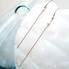 Pearl Chain Earrings, White Pearl Chain Dangle Earrings, Gold Filled, Minimalist Jewelry, Pearl Jewelry, June Birthstone, Atelier Hanover