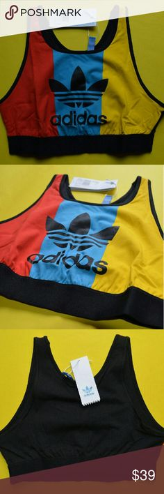 Adidas Originals Crop Top Sports Bra New NWT Adidas Originals Crop Top Shirt NWT Sports Bra New  Brand new with tags Adidas Originals Trefoil color block sports bra crop top.  Size medium. 100% authentic and perfect.  Cotton-rich stretch fabric  Round neckline  Printed logo  Stretch waistband  Racer back cut  Cropped length  Slim fit - cut close to the body  95% Cotton, 5% Spandex  Similar to Nike Adidas Urban Outfitters gym shark GymShark Victoria's secret Lvft Live Fit Flag nor fail…