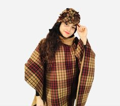 Wool woman poncho with hat .Warm, comparable and easy to wear #wool#woman#poncho#handmade#hat#design#sewn#style#girl#gift#wear#warm#comparable#beautiful#winter#classic#vintage#fashion Wool Poncho, Girl Gifts, Classic Style, Vintage Fashion, Woman, Trending Outfits, Hats, Winter, How To Wear