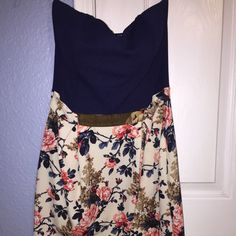 For Sale: Blue Floral Tube Mini Dress for $15