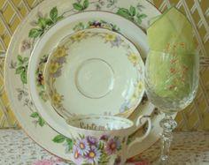 bluebells dinnerware | Mismatched Plates - Antique Dinnerware - Dinnerware Set - September