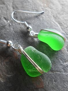 Sea Glass Earrings  Beach Glass Jewelry  ONCE IN by SeaFindDesigns, $20.00