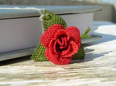 Red rose lace pendant necklace artisan jewelry by LandofDante