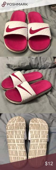 Nike slides These are so squishy and comfortable. Could use a cleaning but other than that in pretty good condition. Price negotiable. Nike Shoes