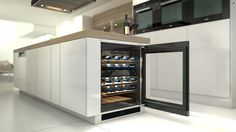 Furniture: Miele 24 Inch Built In Undercounter Wine Storage With 34 Throughout Miele Wine Cooler Plan from miele wine cooler for Invigorate Handleless Kitchen, White Kitchen Cabinets, Kitchen Dining, Miele Kitchen, White Cupboards, Kitchen Island, Kitchen Colors, Kitchen Layout, Kitchen Ideas