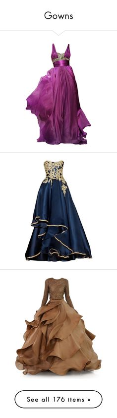 """Gowns"" by casuality ❤ liked on Polyvore featuring dresses, gowns, vestidos, long dresses, long purple dress, elie saab evening gowns, elie saab, elie saab evening dresses, purple dress and blue ball gown"