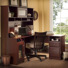 Bush Furniture Cabot 60 In. L-shaped Desk With Hutch - Harvest Cherry