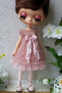 Fluffy hand-knitted dress with boots for Blythe от ElenaShowRoom