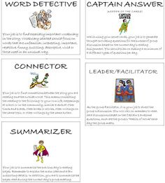 Literature circle job cards. I'll use these since I love the pictures!
