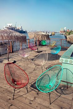 These speak to my hippie soul Vehicles Outdoor Lounge, Outdoor Spaces, Outdoor Chairs, Outdoor Furniture Sets, Outdoor Decor, Acapulco Chair, Harbor House, Mexican Style, Handmade Furniture