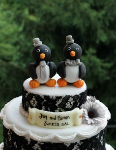 Same sex penguin wedding cake topper, groom and groom personalized