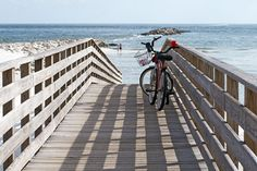 Bicycles on the boardwalk of the Alabama Gulf Coast.