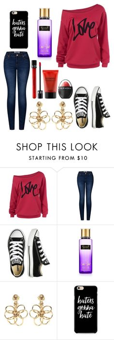 """""""Untitled #9887"""" by ohnadine ❤ liked on Polyvore featuring 2LUV, Converse, Victoria's Secret, Oscar de la Renta and Sephora Collection"""