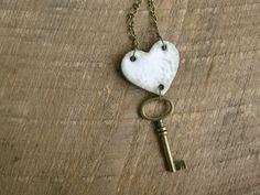 Key to My Heart Necklace- Rustic Cream. 32.00, via Etsy.