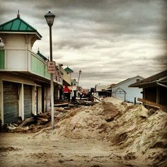 incredible photo of the Jersey Shore #sandy damage w/ the boardwalk completely destroyed