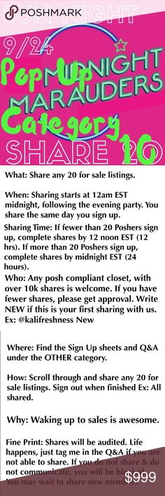 🌙🌙 POP UP CATEGORY SHARE 10 🌙🌙 SUN NIGHT 🌙🌙 You may specify 1 clickable category for tonight's share group  What: Share any 10 listings from category specified. If no category is specified, share any 10 available listings  When: Sharing starts at 12am EST midnight, following the evening party. You share the same day you sign up. Complete shares by midnight EST (24 hrs)  Who: Any posh compliant closet w/ 10k+ shares is welcome. If less, tag me for approval on Q&A. Write NEW if this is…