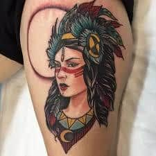 What does indian tattoo mean? We have indian tattoo ideas, designs, symbolism and we explain the meaning behind the tattoo. Indian Chief Tattoo, Indian Women Tattoo, Native Indian Tattoos, Indian Girl Tattoos, Tribal Tattoos For Women, American Indian Tattoos, Tribal Tattoo Designs, Wiccan Tattoos, Symbolic Tattoos