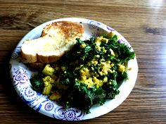 Tofu scramble with so much kale!  Yum!  #breakfast #kale #tofu #scramble #easy #cheap #genkikitty #vegan
