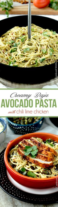 Unbelievably Creamy Avocado Pasta spiced with the flavors of Baja, and topped with the option of moist easy Chili Lime Chicken all on the table in less than 30 minutes. #avocados #avocadopasta #pasta #Mexican