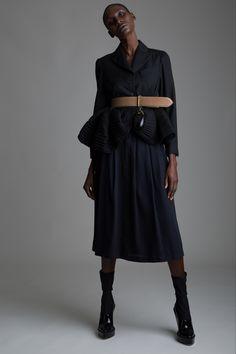 Vintage Romeo Gigli Peplum Jacket, Alaia Belt and Comme des Garçons Skirt. Designer Clothing Dark Minimal Street Style Fashion