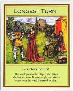 Settlers of Catan Longest Turn Card...-2 Victory Points!