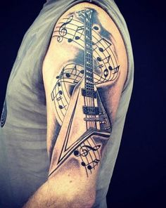Tattoo E guitar with notes
