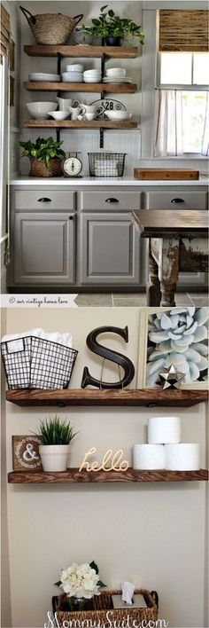 16 Easy and Stylish DIY Floating Shelves & Wall Shelves 16 easy tutorials on building beautiful floating shelves and wall shelves! Check out all the gorgeous brackets, supports, finishes & design inspirations! - A Piece Of Rainbow Kitchen Wall Shelves, Floating Shelves Bathroom, Rustic Floating Shelves, Diy Wall Shelves, Wood Shelves, Open Shelves, Floating Cabinets, House Shelves, Bar Shelves