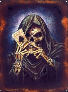 The reaper can gamble all it wants, because the house has no hold over it Grim Reaper Art, Grim Reaper Tattoo, White Over Black Tattoo, Ace Of Spades Tattoo, Crane, Skull Crafts, Skeleton Drawings, Skull Pictures, Dark Drawings