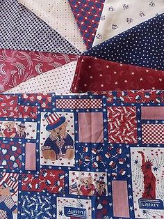 Estate Fabric Quilt Craft Stash Lot 9 USA Star America Dot Bear Heart Vintage ++