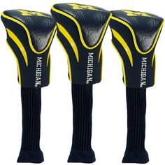 Michigan Wolverines Contour Fit Headcover Set by Team Golf. $41.95. Officially licensed. The #1 fits all oversized drivers. Nylon sock protects shafts from damage. Take your team pride to the golf course with this Michigan Wolverines Contour Fit Headcover Set. Set includes 3 stylish contoured headcovers with innovative materials and sleek design - numbered 1, 3 and X. *The #1 fits all oversized drivers *Nylon sock protects shafts from damage *Officially licensed