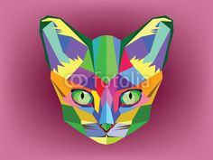 Cat head with geometric style