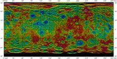 """Ceres - Mapa Topográfico do planeta-anão, pela missão """"Dawn"""" da NASA."""