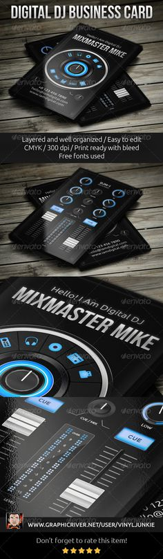 Digital DJ Business Card #GraphicRiver Digital DJ Business Card. Perfect for controller and digital dj's. Also may be used as a music producer, promoter, dj shop etc. You can change text, fonts, colors & move all elements. Features: Layered & Customizable Well organized Fully Editable 3,5×2 inch (3,75×2,25 with bleed and guides) CMYK 300 DPI Print ready Free fonts used: Bebas Neue, Ubuntu NOTE: Both sides of business card placed in one .PSD file and organized in folders. Open file in Adobe…