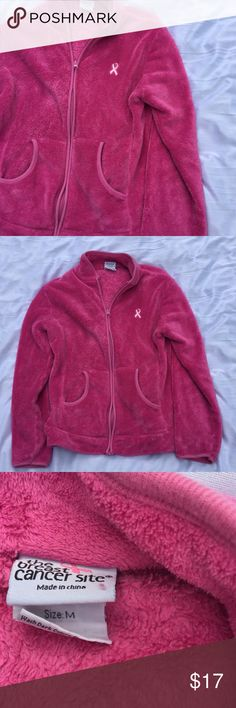 BREAK FOR A CURE SWEAT JACKET Practically new only worn a few times BREAST CANCER AWARENESS pink zip jacket NO HOOD size med in great shape and pre-loved Tops Sweatshirts & Hoodies