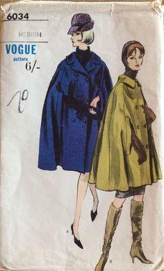 Vogue 6034 Double Breasted Cape Jacket 60s Sz Med B34-36 uncut unused sld 12+2.61 bin 1/29/17