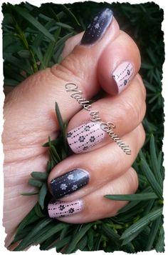 Nude &  Black stamping nail art:)