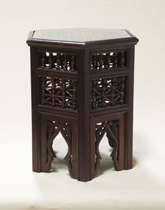 Moroccan Side Table with Glass