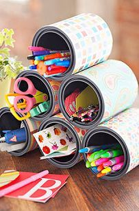 Glue tin cans to a lazy susan for the arts and crafts table. | 35 Money-Saving Classroom DIYs For Teachers On A Budget