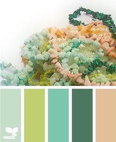 Peach / teal / blue / green / grey
