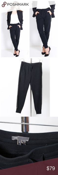 Vince leather trim  sweatpants small 100% authentic purchased from Nordstrom. Size small- released, oversized fit. Leather size trim. Cuffed at ankles, back zipper pocket. Hope you love them as much as we do- all the items from this look will be for sale in our other listings - xo' Vince Pants Track Pants & Joggers