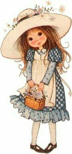 28 Ideas for basket illustration sarah kay Holly Hobbie, Garden Illustration, Cute Illustration, Vintage Images, Vintage Art, Sara Kay, Hobby Horse, Vintage Children, Cute Art