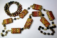 Metallic hues  Handmade polymer clay necklace  by 1000and1 on Etsy