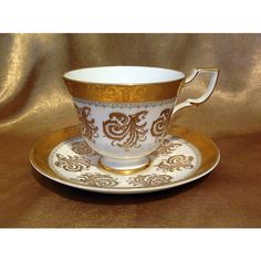Vintage Tuscan Teacup and Saucer, Hard to find Tuscan pattern D2649,... ($35) ❤ liked on Polyvore featuring home, kitchen & dining, drinkware and bone china