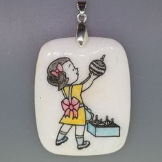 CREATIVE ENGRAVED & HAND PAINTED GIRL NATURAL WHITE STONE PENDANT ZL7001813 #ZL #PENDANT