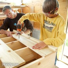 Simple Bookcase Plans ~ Build it in a day with your favorite young woodworker ~ Build this simple pine bookshelf with a miter saw, biscuits—and a young helper. It's a great way to teach your son or daughter about woodworking and tool use.