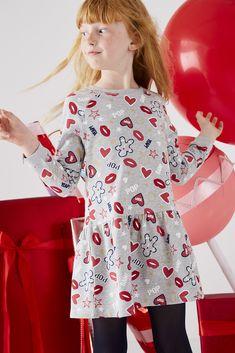 Robe molleton fille Pop Noël motifs irisés gris chine imprime - Vertbaudet 5cd68deb2af
