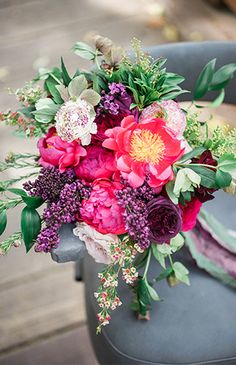 Moody hues of plum, emerald, stormy gray and merlot are accented by pops of magenta in this gorgeous and dramatic jewel tone wedding inspiration. Fall Wedding Colors, Green Wedding Shoes, Floral Wedding, Wedding Flowers, Purple Wedding, Bridesmaid Bouquet, Wedding Bouquets, Flower Bouquets, Wedding Themes